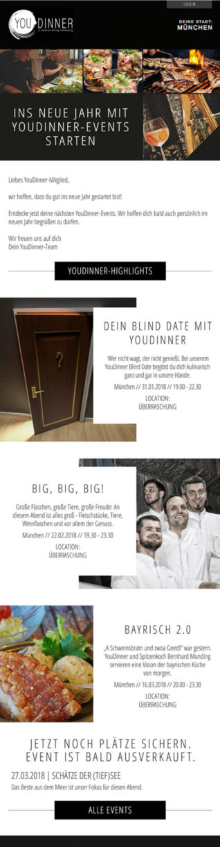 Referenzen YouDinner Newsletter München